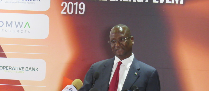 First Vice-President Taban Deng Gai addressing the Oil and Power Conference in Juba on 29 Oct 2019/ Photo: Radio Tamazuj