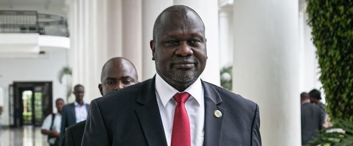 Riek Machar arrives for talks on South Sudan's proposed unity government in Uganda on November 7, 2019. Photographer: Michael O'Hagan/AFP via Getty Images