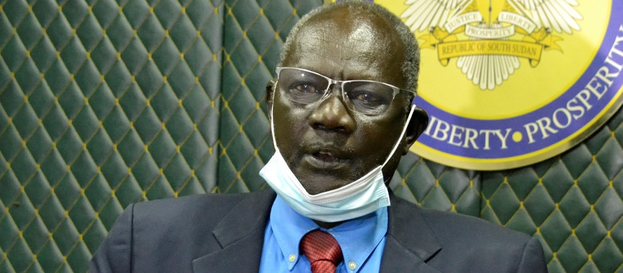Information Minister, Michael Makuei, speaking to reporters after an extraordinary cabinet meeting in Juba on October 14, 2020. (Radio Tamazuj)