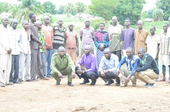 File photo: The 18 detained rebel suspects after being released in Yei on Thursday, 15 June, 2017. (Radio Tamazuj)