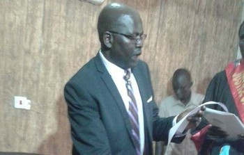 File photo: Minister Majok Wek Kuol takes oath of office in Aweil. (Radio Tamazuj)