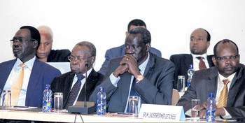 File photo: Former detainees at the roundtable negotiations on June 16, 2014 in Addis Ababa.