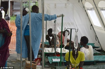 File photo: Cholera patients being treated in a tent at the Juba Teaching Hospital.