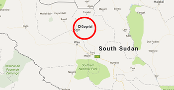 Map of South Sudan showing Gogrial state in red