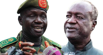 File photo: army chief James Ajongo (left) and defense minister Kuol Manyang (right)