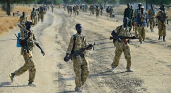File photo: Sudan People's Liberation Army soldiers walk along a road near Bor, on January 31, 2014 (AFP Photo)
