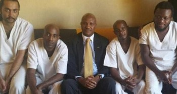 File photo: Kenyans detained in South Sudan with their ambassador in Juba (NTV photo)