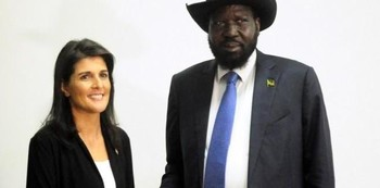 File photo: South Sudan President Salva Kiir meets U.S. Ambassador to the United Nations Nikki Haley in Juba, October 25, 2017. REUTERS/Jok Solomun