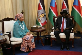 Photo:UN 's Deputy Secretary-General Amina J Mohammed during a meeting with the country's President Salva Kiir (UNMISS)