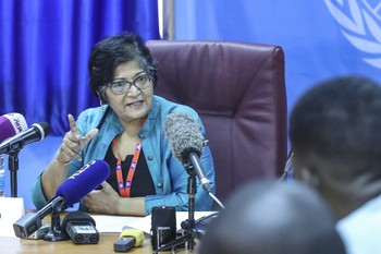 Yasmin Sooka, Chairperson of the Commission on Human Rights in South Sudan, at a press conference in Juba, South Sudan, 15 December 2017 ©UNMISS Photo