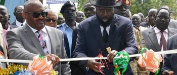 Photo: South Sudan President Salva Kiir lays the foundation stone of Al-Cardinal Kidney Hospital in Juba in October 2017
