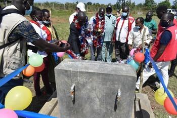 Handing over of Jellei parking water yard in Nimule Tuesday 17th November 2020. [Photo: Radio Tamazuj]
