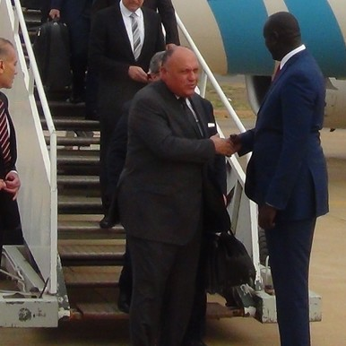 Egypt's foreign minister arrives in Juba