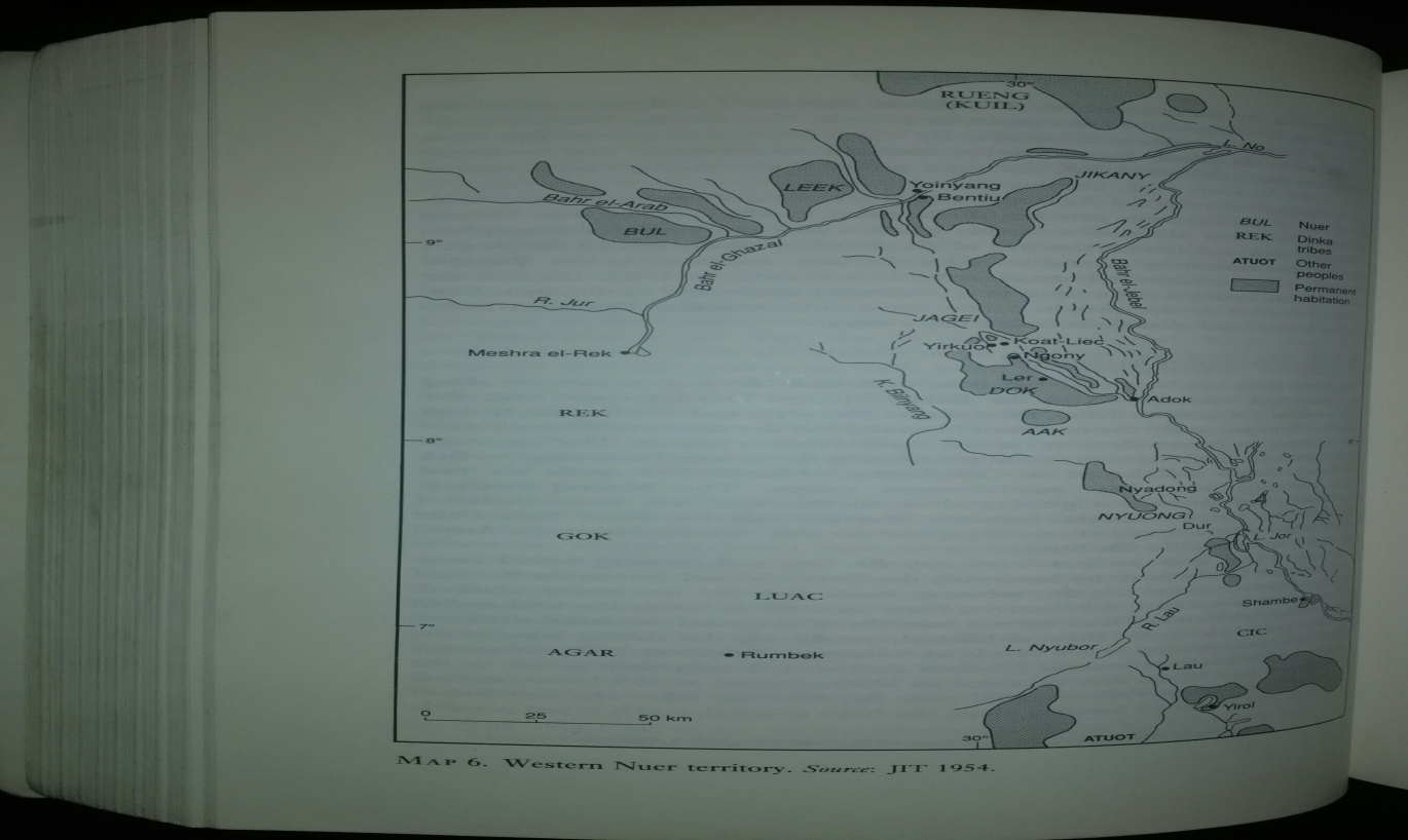 Fig 2. Map of Western Nuer Territory, Source: JIT 1954
