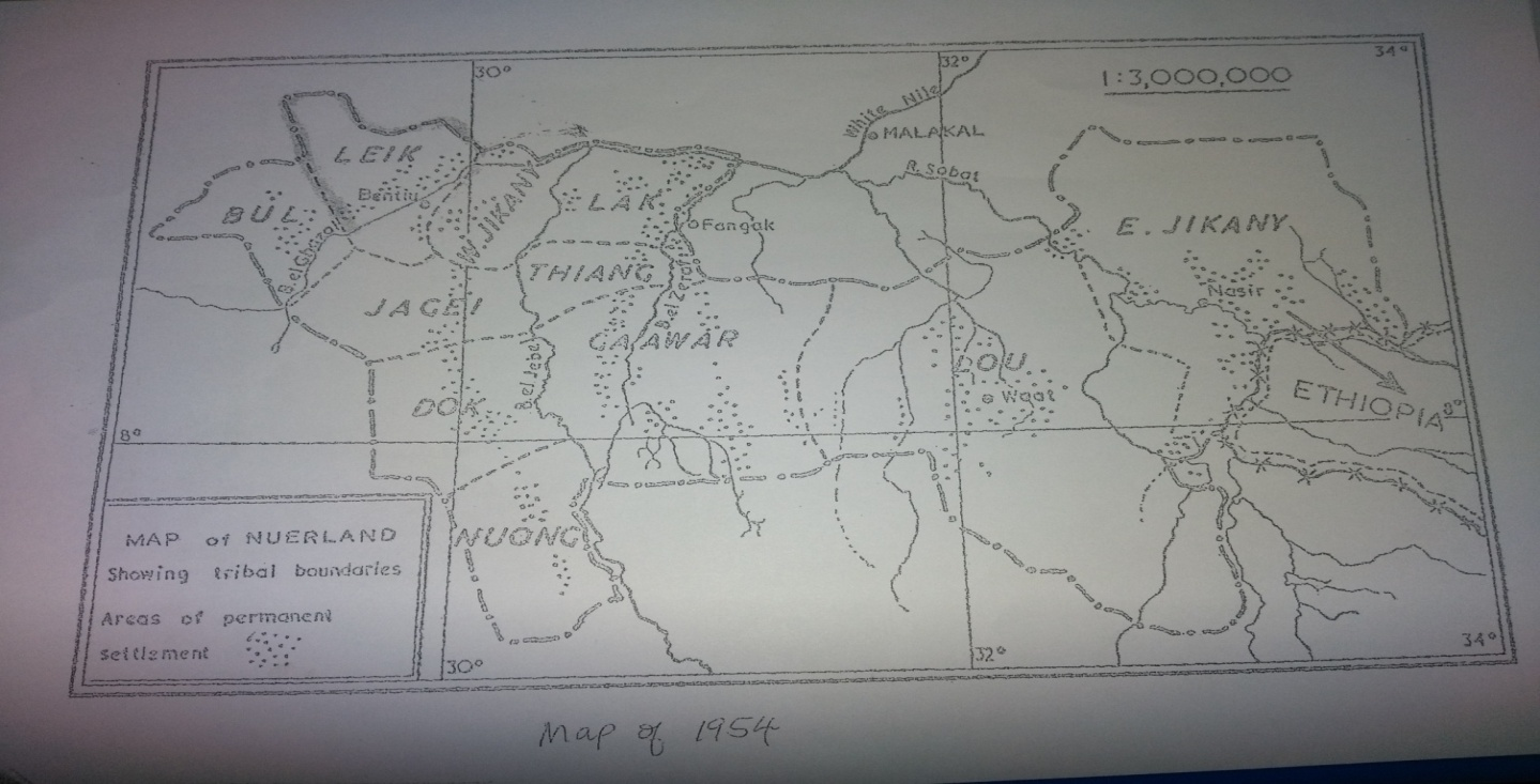 The Map of Nuer Territory taken in 1954, section 1:3,000,000